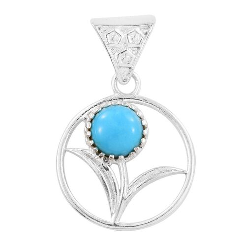Arizona Sleeping Beauty Turquoise (Rnd) Pendant in Sterling Silver 1.010 Ct.