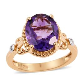 Uruguay Amethyst (Ovl 3.20 Ct), Diamond Ring in 14K Gold Overlay Sterling Silver 3.250 Ct.