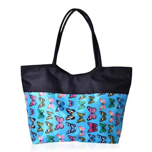 Multi Colour Butterfly Pattern Black and Blue Colour Tote Bag (Size 52X38X32X15.5 Cm)