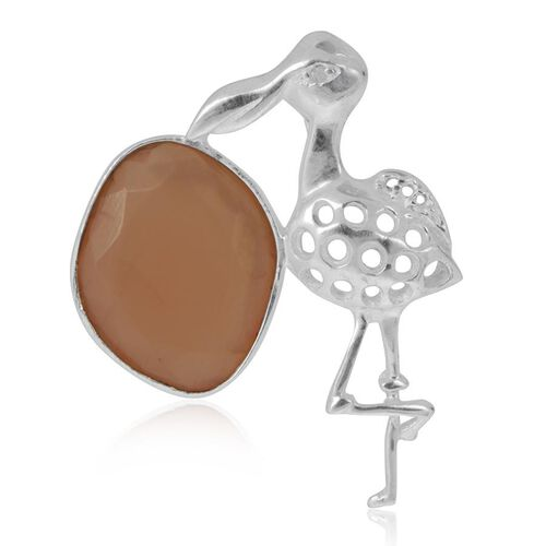 Creature Couture - Jewels of India Flamingo Pendant with Orange Moonstone in Sterling Silver 5.740 Ct.