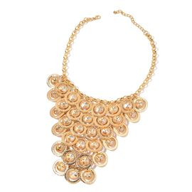 Designer Inspired Simulated Champagne Diamond Waterfall Necklace (Size 20 with 2 inch Extender) in Gold Tone