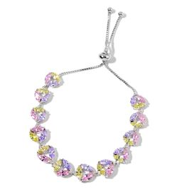 AAA Simulated Multi Colour Diamond Adjustable Bracelet (Size 7 to 10) in Silver Tone