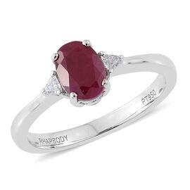 RHAPSODY 950 Platinum 1.25 Ct. AAAA Pigeon Blood Burmese Ruby Ring with size Diamond VS/E-F