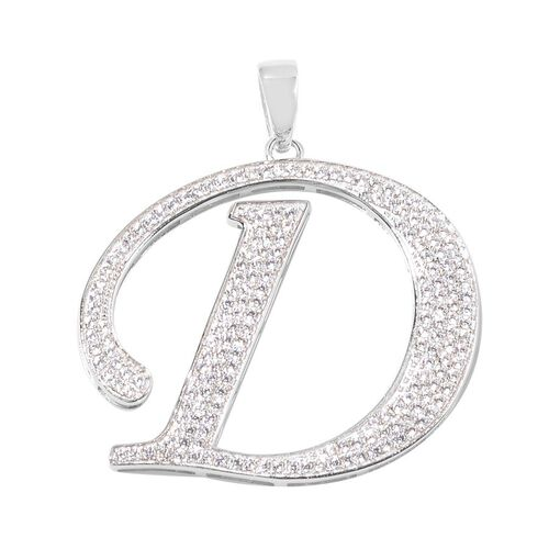 ELANZA AAA Simulated White Diamond D Initial Pendant in Platinum Overlay Sterling Silver