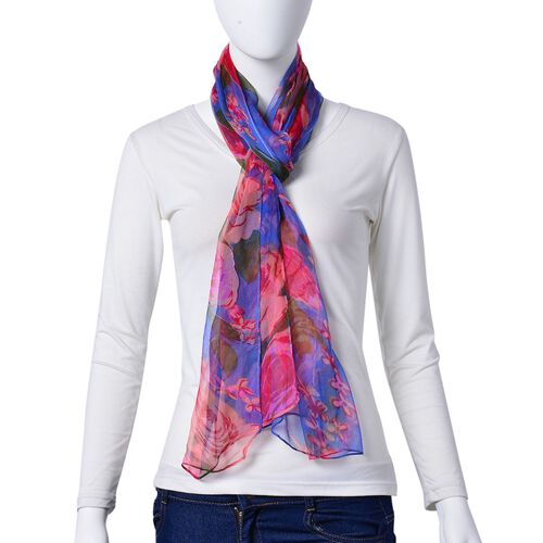 100% Mulberry Silk Blue, Pink and Multi Colour Floral Pattern Scarf (Size 180X50 Cm)