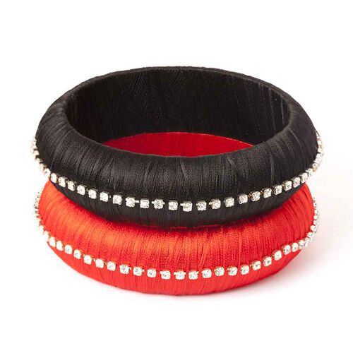 Set of 2 - Black and Red Colour Bangle with White Austrian Crystal