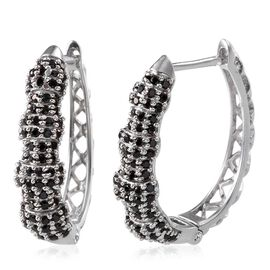 Boi Ploi Black Spinel (Rnd) Hoop Earrings in Platinum Overlay Sterling Silver 2.000 Ct.