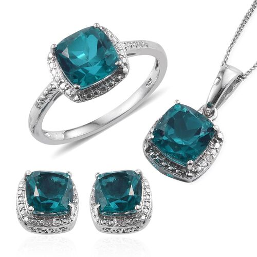 Capri Blue Quartz (Cush), Diamond Ring, Pendant With Chain and Stud Earrings (with Push Back) in Platinum Overlay Sterling Silver 10.050 Ct.
