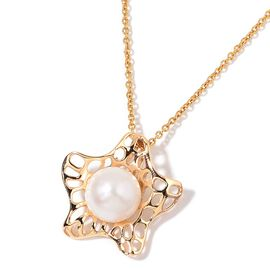 Fresh Water White Pearl Starfish Pendant with Chain in Yellow Gold Tone