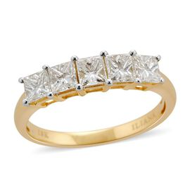 ILIANA 18K Y Gold IGI Certified Diamond (Sqr) (VS-SI/G-H) 5 Stone Ring 1.000 Ct.