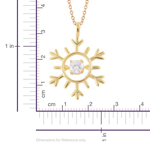 ELANZA AAA Simulated Diamond (Rnd) Snowflake Pendant With Chain in 14K Gold Overlay Sterling Silver