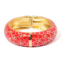 AAA White Austrian Crystal Red Enameled Bangle (Size 7.5) in Gold Tone