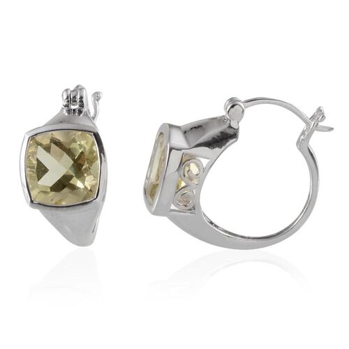 Brazilian Green Gold Quartz (Cush) Hoop Earrings in Platinum Overlay Sterling Silver 8.000 Ct.