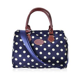 City Classic Water Resistant Polka Dots Bowler Bag with Removable and Adjustable Strap (Size 28x21x18 Cm)