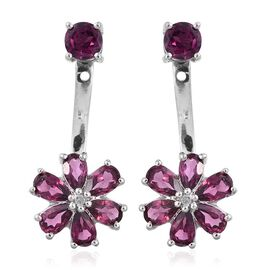 Rhodolite Garnet (Rnd), Diamond Floral Earrings (with Push Back) in Platinum Overlay Sterling Silver 3.750 Ct.