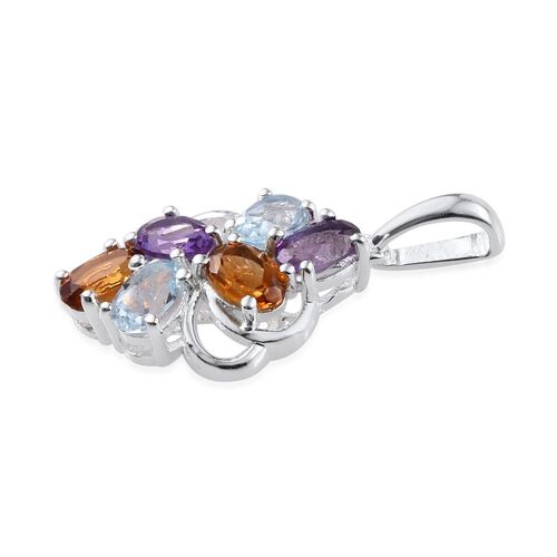 (Option 2) Sky Blue Topaz (Ovl), Amethyst and Citrine Pendant in Sterling Silver 2.750 Ct.