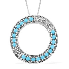 1 Carat Arizona Sleeping Beauty Turquoise Circle Of Life Pendant With Chain In Platinum Overlay Sterling Silver