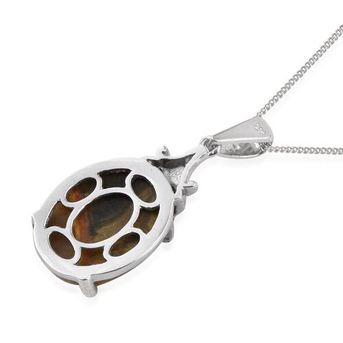 Bumble Bee Jasper (Ovl) Solitaire Pendant With Chain in Platinum Overlay Sterling Silver 10.000 Ct.