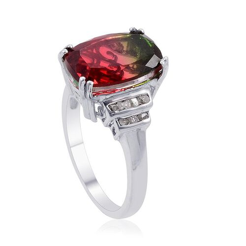Tourmaline Colour Quartz (Cush 6.75 Ct), Diamond Ring in Platinum Overlay Sterling Silver 6.900 Ct.