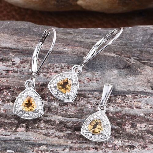 Citrine (Trl), Diamond Pendant and Lever Back Earrings in Platinum Overlay Sterling Silver 0.650 Ct.