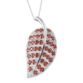Orange Sapphire (Rnd) Leaf Pendant With Chain in Platinum Overlay Sterling Silver 6.250 Ct.