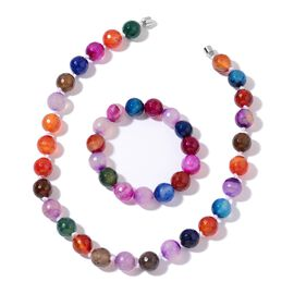 OTO - Rare Size Multi Colour Agate Ball Beads Necklace (Size 18) with Magnetic Clasp Lock in Silver Tone and Stretchable Bracelet (Size 6.5 to 8.5) 724.000 Ct
