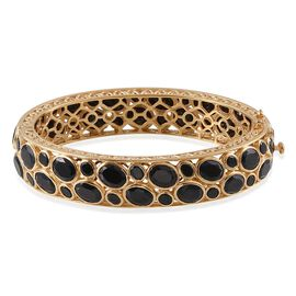 Boi Ploi Black Spinel (Ovl) Bangle (Size 7.5) in 14K Gold Overlay Sterling Silver 75.000 Ct.