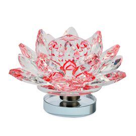 Hand Crafted Red and White Austrian Crystal and Faceted Glass Lotus with a Gift Box