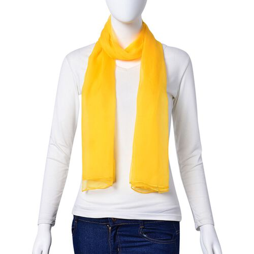 100% Mulberry Silk Yellow Colour Scarf (Size 170X70 Cm)