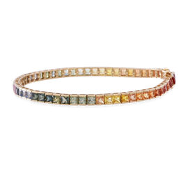 Limited Edition 9K Yellow Gold AAA Rainbow Sapphire (Sqr) Bracelet (Size 7.5) 11.500 Ct.