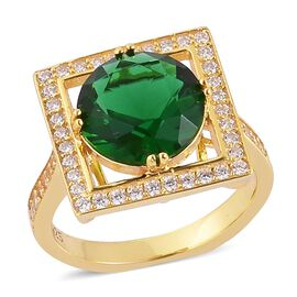 Simulated Emerald and Simulated White Diamond Ring in Yellow Gold Overlay Sterling