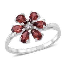Mozambique Garnet (Pear), Natural Cambodian White Zircon Floral Ring in Sterling Silver 1.500 Ct.