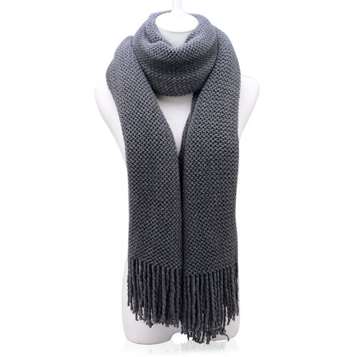 New For the Season - Dark Grey Colour Scarf (Size 210x90 Cm)