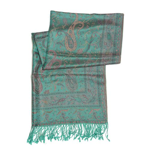SILK MARK - 100% Superfine Silk Pink and Multi Colour Paisley and Leaves Pattern Green Colour Jacquard Jamawar Scarf with Fringes (Size 180x70 Cm) (Weight 125-140 Grams)