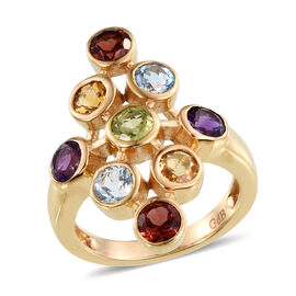 Hebei Peridot (Rnd), Mozambique Garnet, Sky Blue Topaz, Citrine and Amethyst Ring in ION Plated Yellow Gold Bond 2.250 Ct.