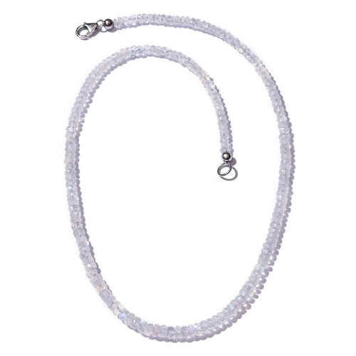 Royal Jaipur Rainbow Moonstone (Rnd) Necklace (Size 18) in Platinum Overlay Sterling Silver 54.590 Ct.