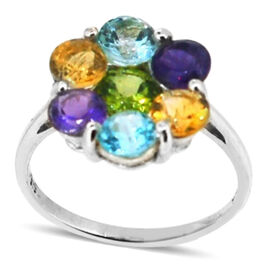 Hebei Peridot (Rnd 0.95 Ct), Sky Blue Topaz, Citrine and Amethyst Floral Ring in Sterling Silver 3.500 Ct.