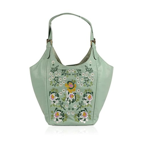 Genuine Leather Floral Embroidered Sea Green Colour Handbag with Adjustable Shoulder Strap (Size 50X30X21.5 Cm)