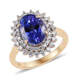 ILIANA 18K Yellow Gold 6 Carat AAA Tanzanite Ring With Diamond SI G H