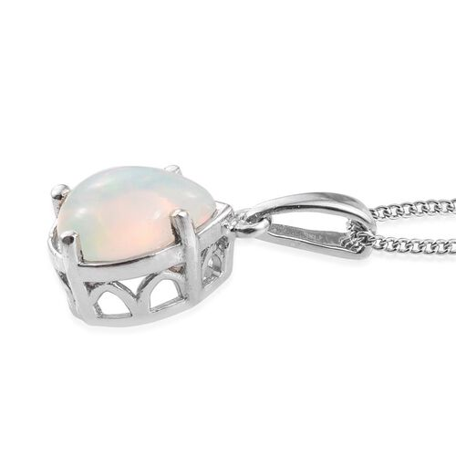 Ethiopian Welo Opal (Pear) Solitaire Pendant With Chain in Platinum Overlay Sterling Silver 1.000 Ct.