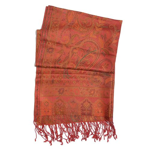 100% Superfine Silk Red and Multi Colour Paisley Pattern Orange Colour Jacquard Jamawar Scarf with Fringes (Size 180x70 Cm) (Weight 125 - 140 Grams)