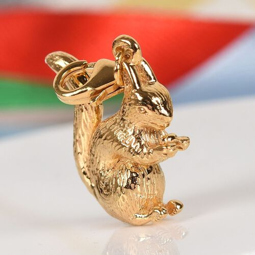 14K Gold Overlay Sterling Silver Squirrel Charm, Silver wt 4.59 Gms.