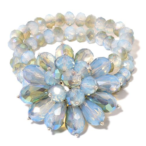 Simulated Opalite Floral Stretchable Bracelet (Size 6.5)