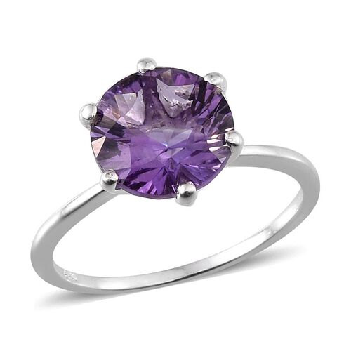 Brazilian Amethyst (Rnd) Solitaire Ring in Sterling Silver 3.250 Ct.