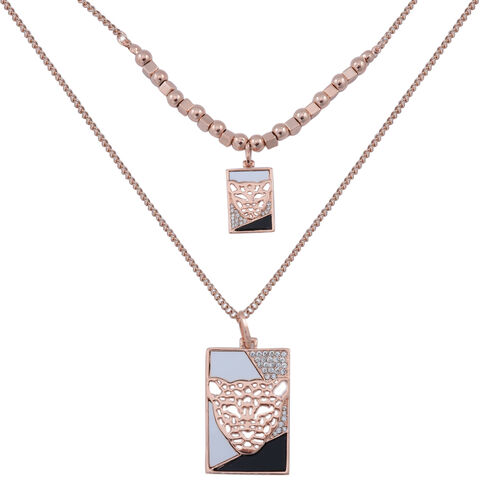 White Austrian Crystal and Simulated White Stone Leopard Face Necklace (Size 32) in Rose Gold Tone