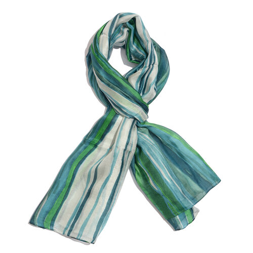 100% Mulberry Silk Green, White, Blue and Multi Colour Ancient Stripe Printed Scarf (Size 180x100 Cm)