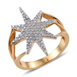Diamond Star Silver Ring 0.33 Carat in 14K Gold Overlay.