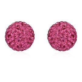 AAA Fuchsia Colour Austrian Crystal (Rnd) Stud Earrings in Sterling Silver