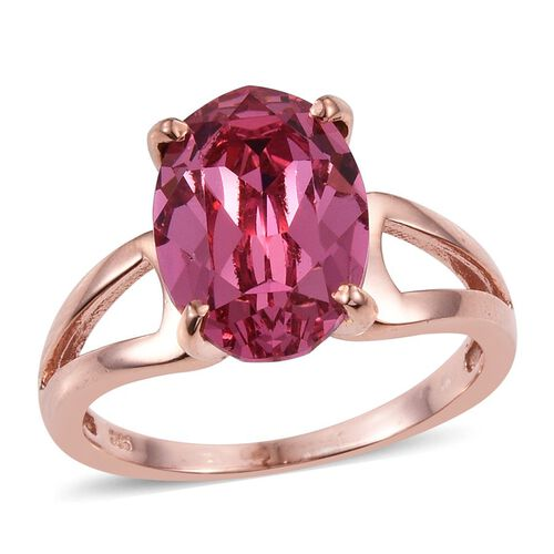 J Francis Crystal from Swarovski - Rose Crystal (Ovl) Solitaire Ring in Rose Gold Overlay Sterling Silver