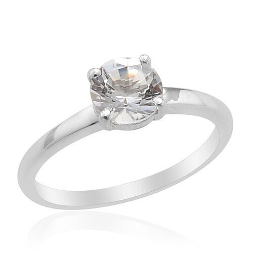 Golconda Diamond Topaz  (Rnd 1.00 Ct) Ring in Platinum Overlay Sterling Silver  1.00 Ct.